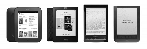 Dispositivos comparados: Nook Simple Touch, Kobo Touch, Sony PRS-T1 e Positivo Alfa